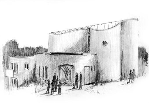 Neue Kirche Der Gemeinde Köln Ost, Zeichnung: Andreas Bücklers